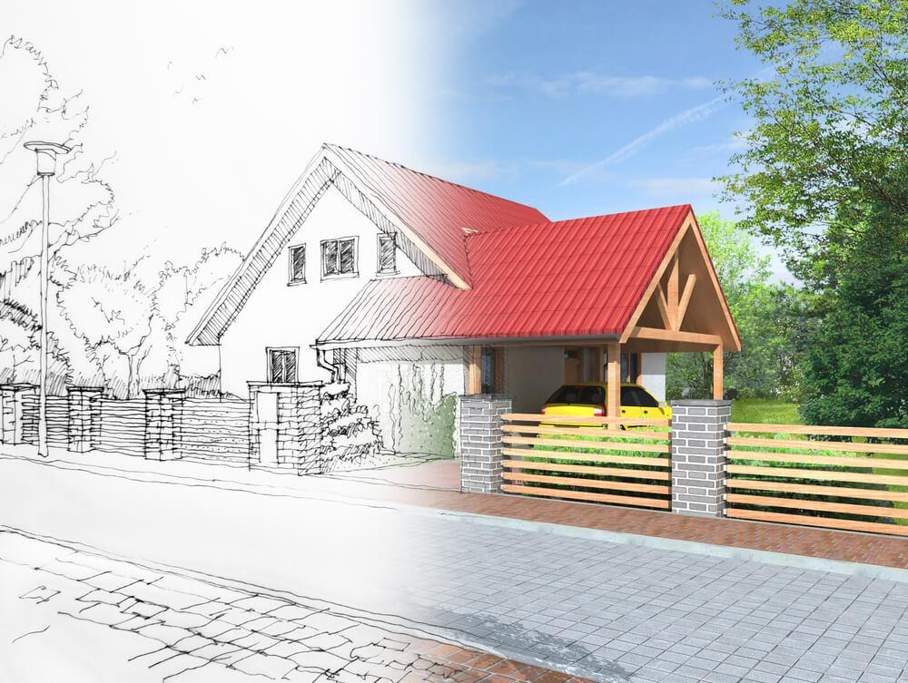 Проект и готовый частный дом