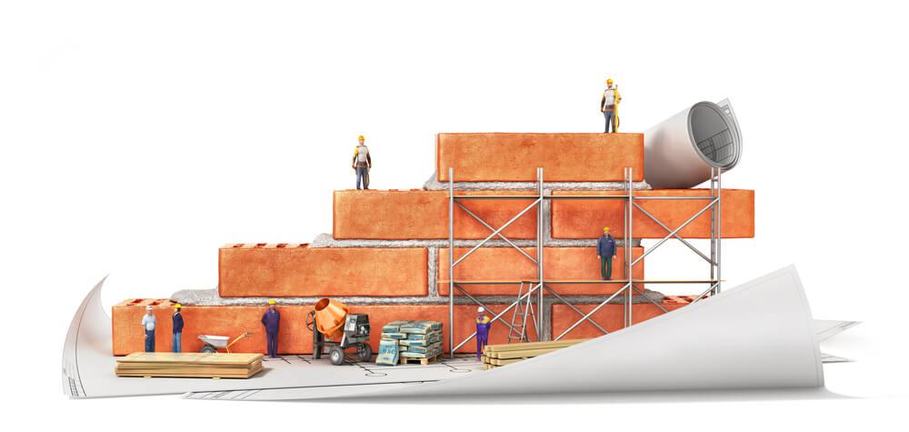 Модель кирпичной стены и стройматериалы