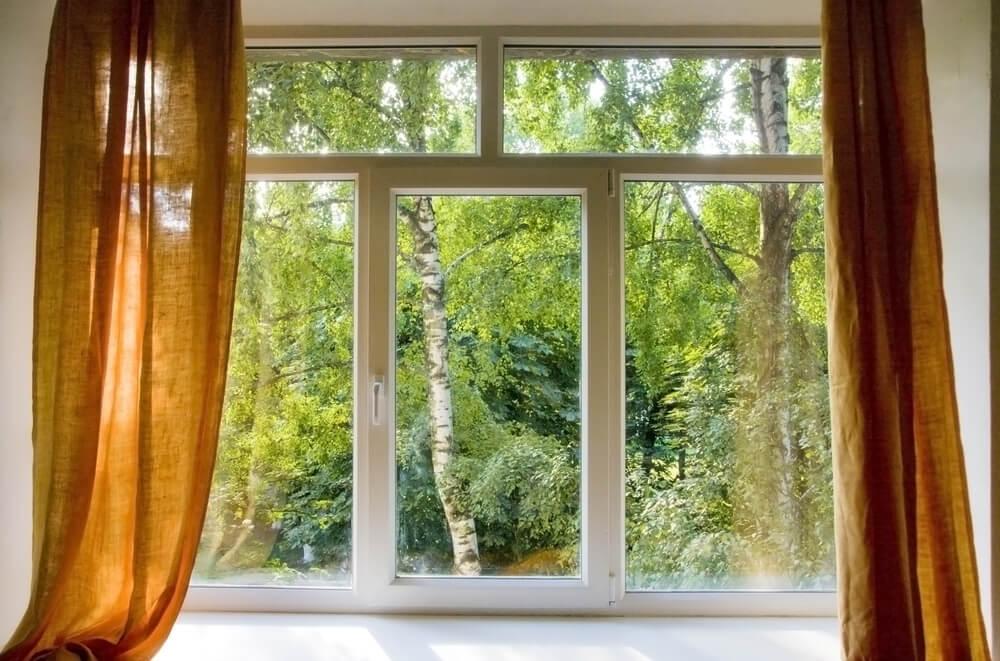 Пластиковое окно с видом на деревья